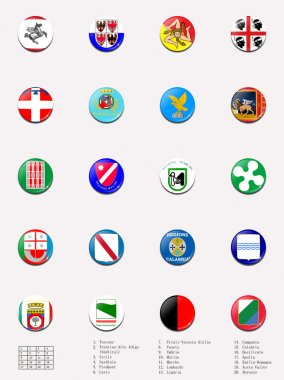 Flags balls/stamps of regions of Italy