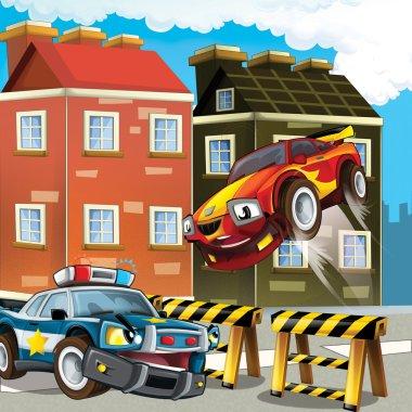 Pursuit, speeding car, road block
