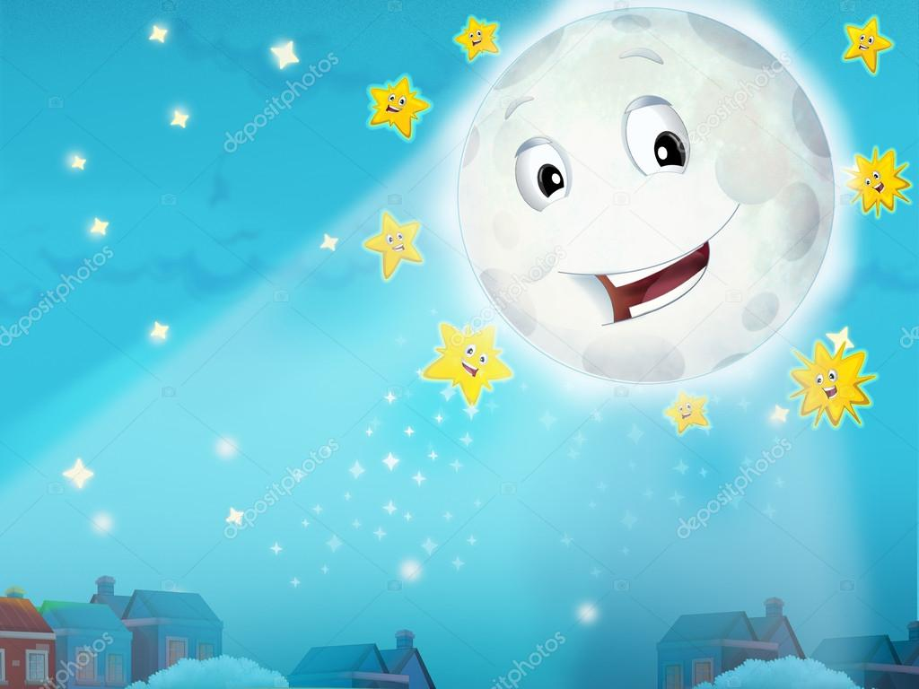 Cartoon smiling moon by the night with the stars