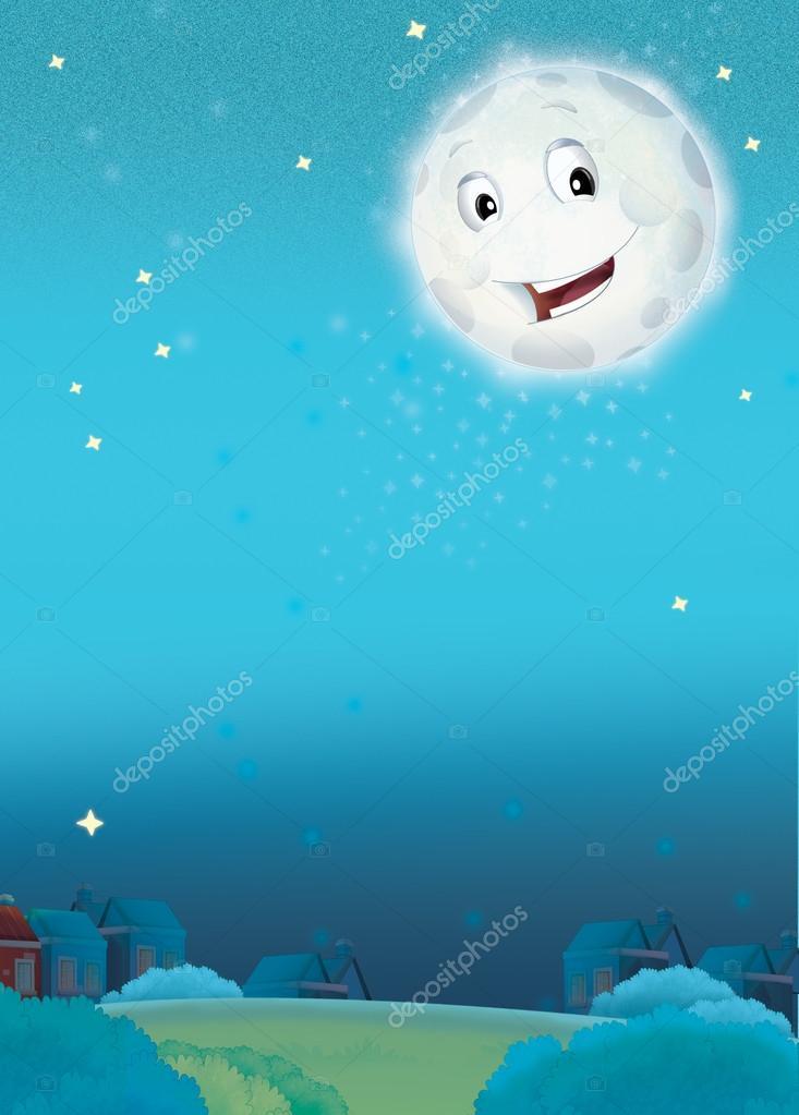 Cartone animato sorridente luna di notte — foto stock