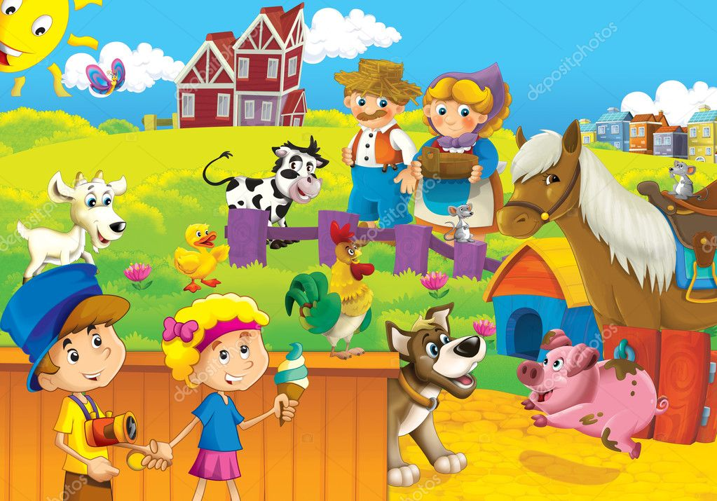 The children on the farm playing with the farm animals 3