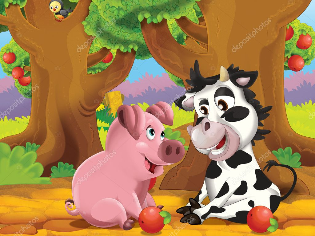 The cartoon pigs playing in the orchard and eating apples