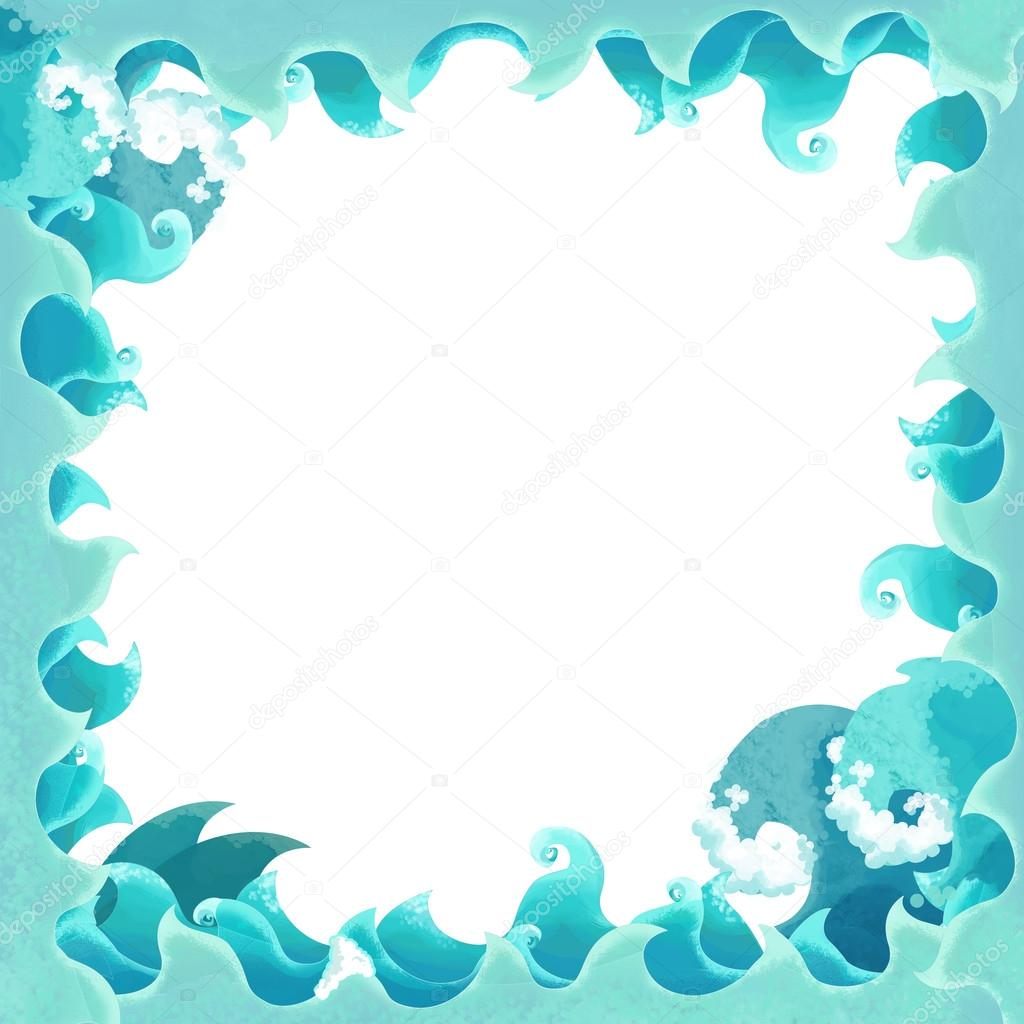 Artistic cartoon frame waves with whale