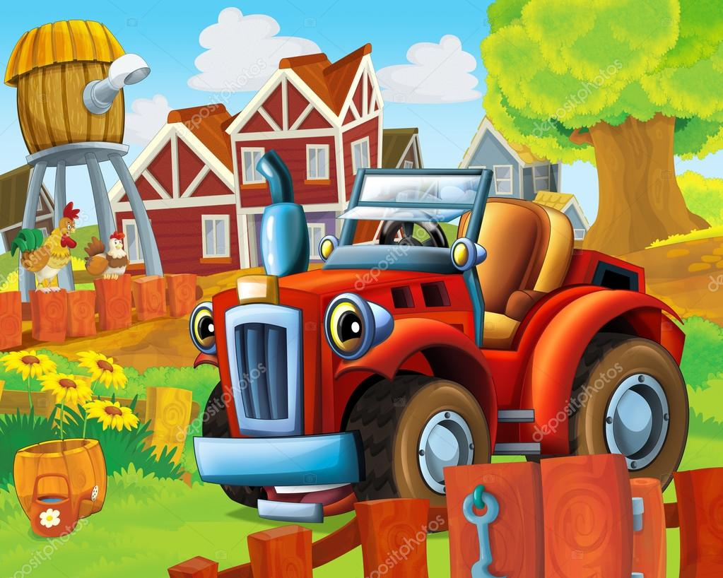 The farm illustration with tractor