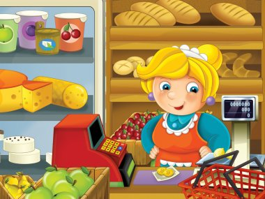 The shop illustration with different goods and a clerk