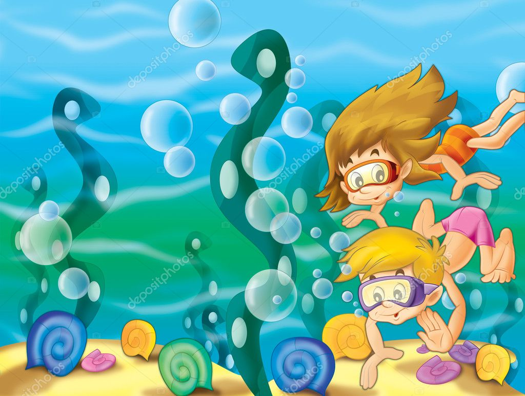 The pair of kids diving searching at the bottom of the sea stock photo illustrator hft 12249600 - Fotos fondo del mar ...