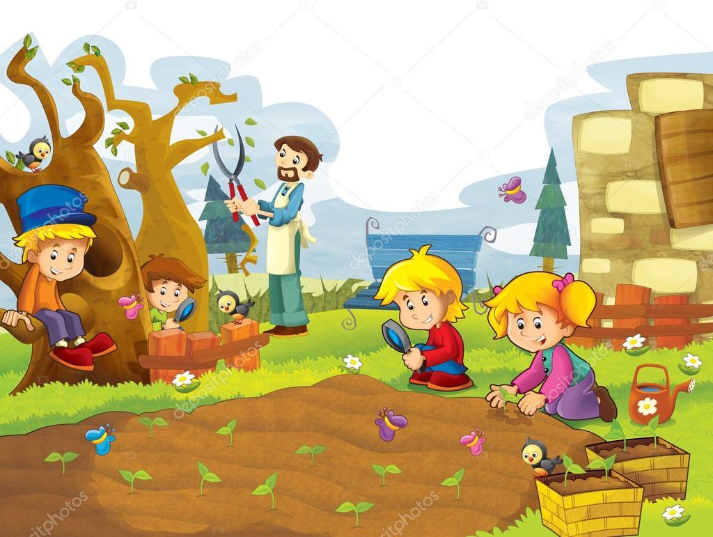 Vegetable garden pictures for kids - Happy Children Having Fun In The Vegetable Garden Stock Photo 12250380