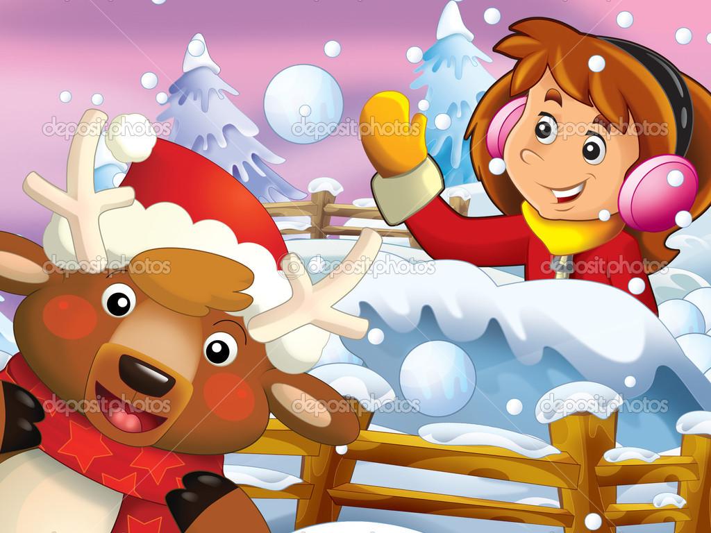 La lotta neve di cartone animato con creature di natale u foto