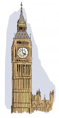 The iconic and historical architecture of Europe - the big ben in London - illustration for the children stock vector