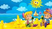 Karikatura hry na pláži - chlapec a dívka