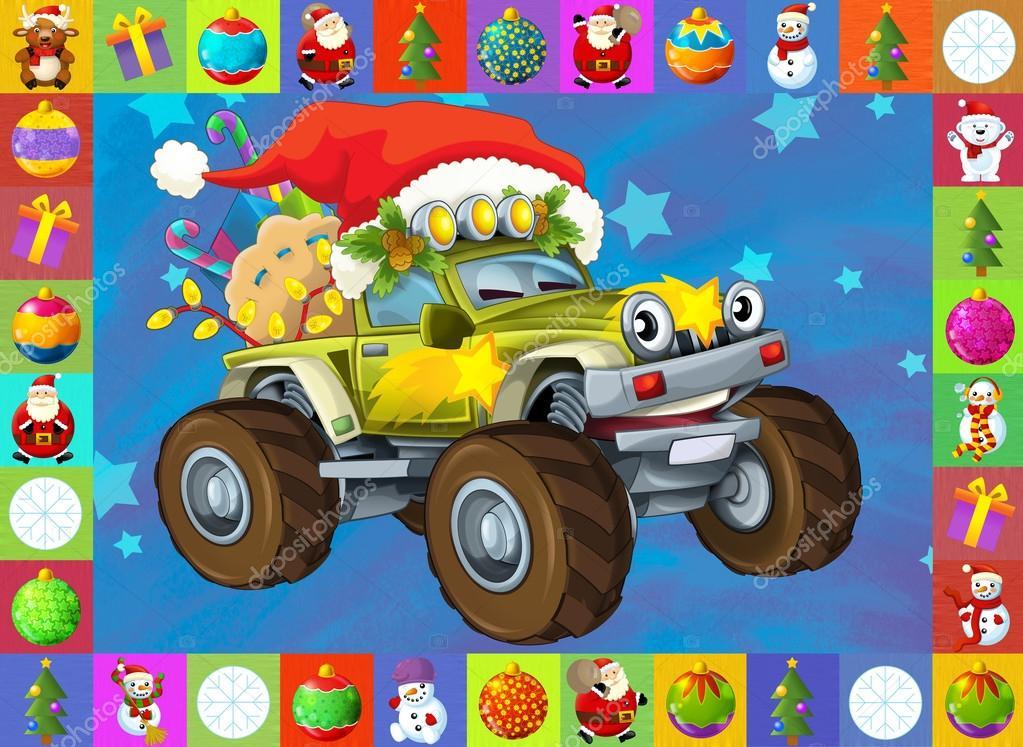 Autos Navidad Los Tarjeta De Navidad Feliz Ilustracion Para Los
