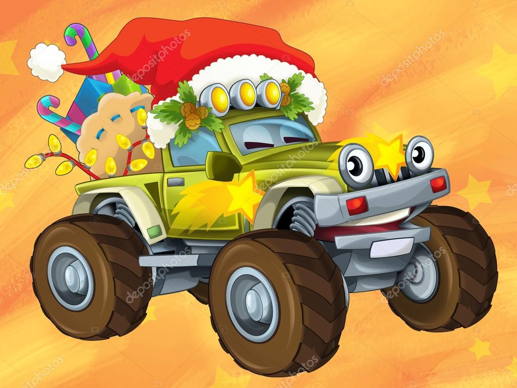 Feliz Navidad Autos Los Tarjeta De Navidad Feliz Ilustracion