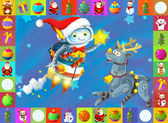 Santa and reindeer flying on a blue background