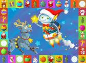 Santa a sobů na modrém pozadí