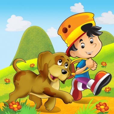 Two friends on the trip - dog and boy - illustration for the children