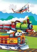 Fotografia la locomotiva e la macchina volante