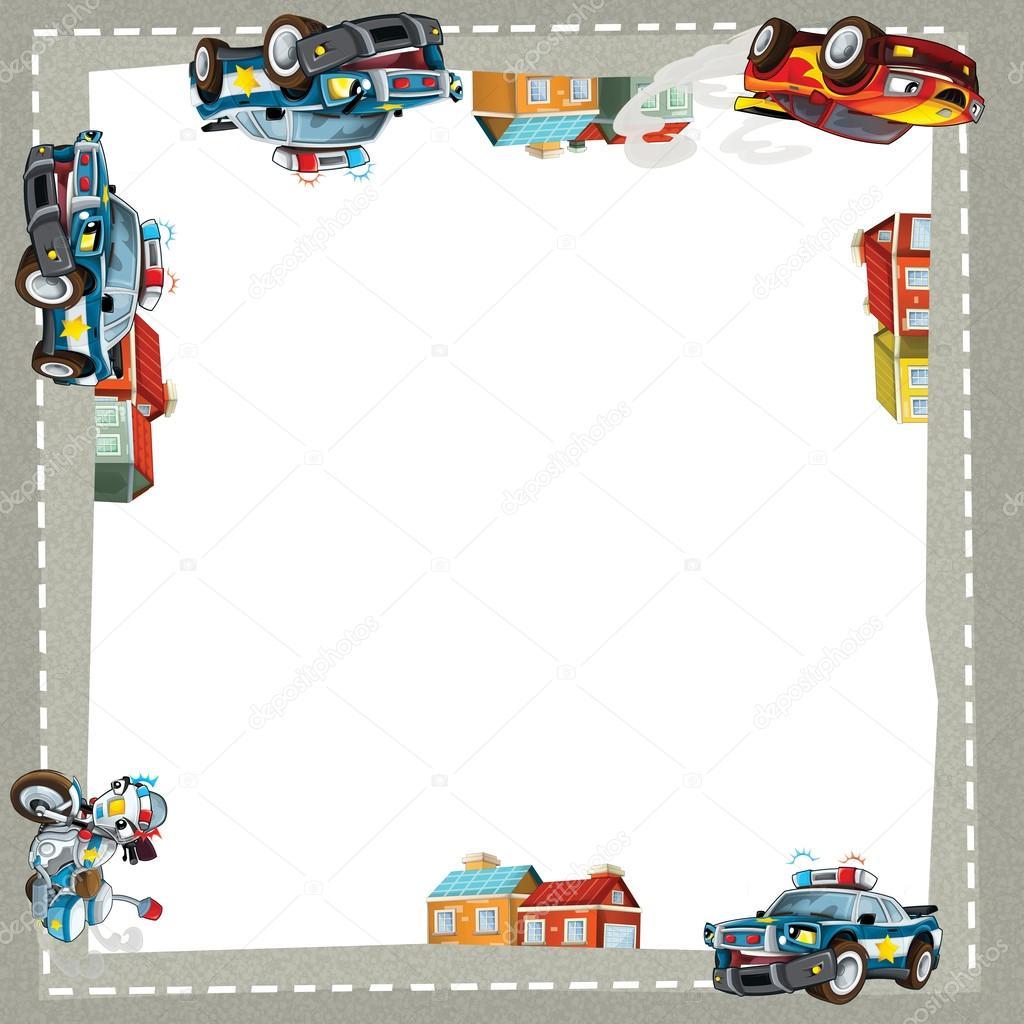 coches feliz artísticos dibujos animados marco — Foto de stock ...