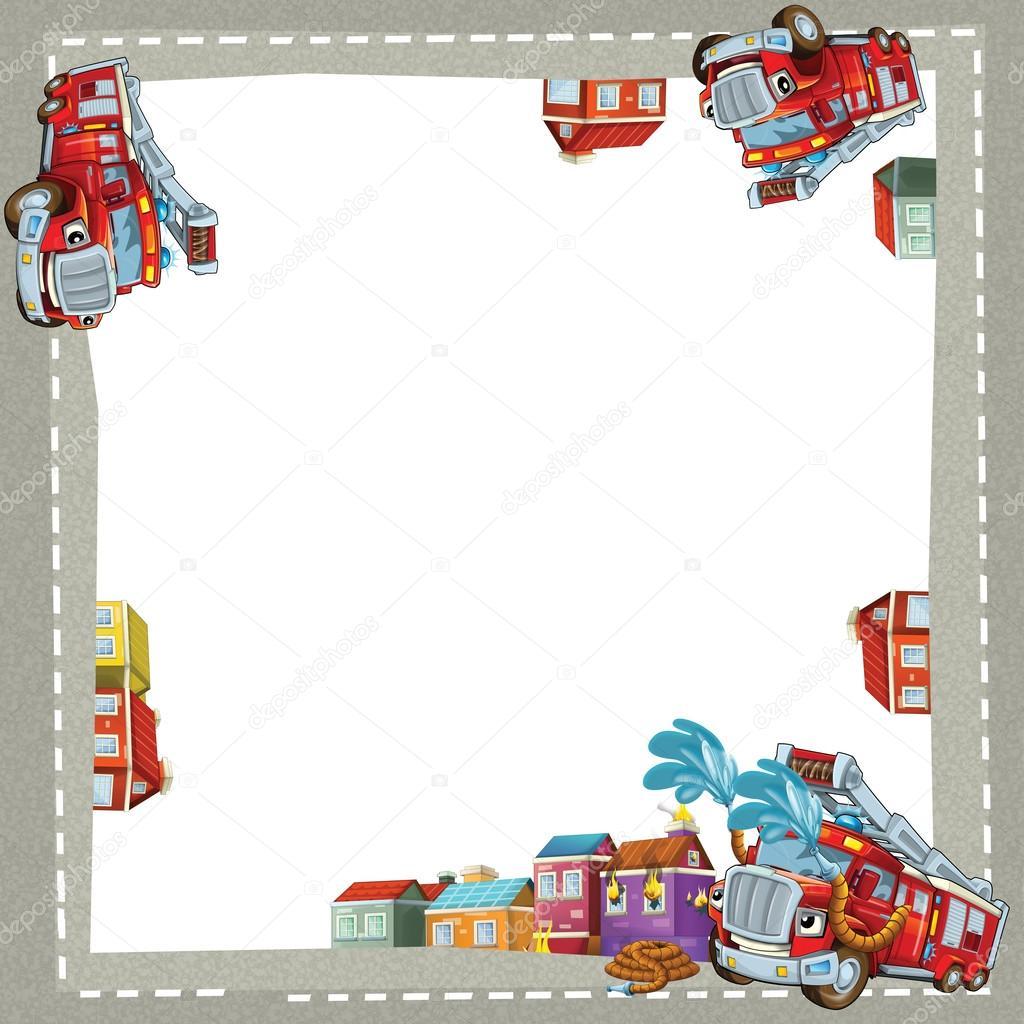 camión de bomberos feliz de marco artístico de dibujos animados ...