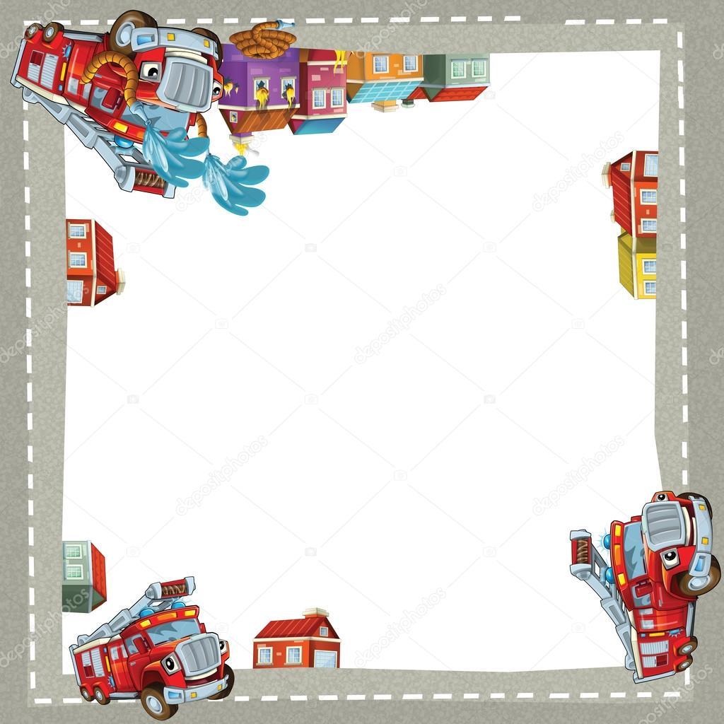 künstlerische Cartoon-Rahmen mit glücklich Autos — Stockfoto ...
