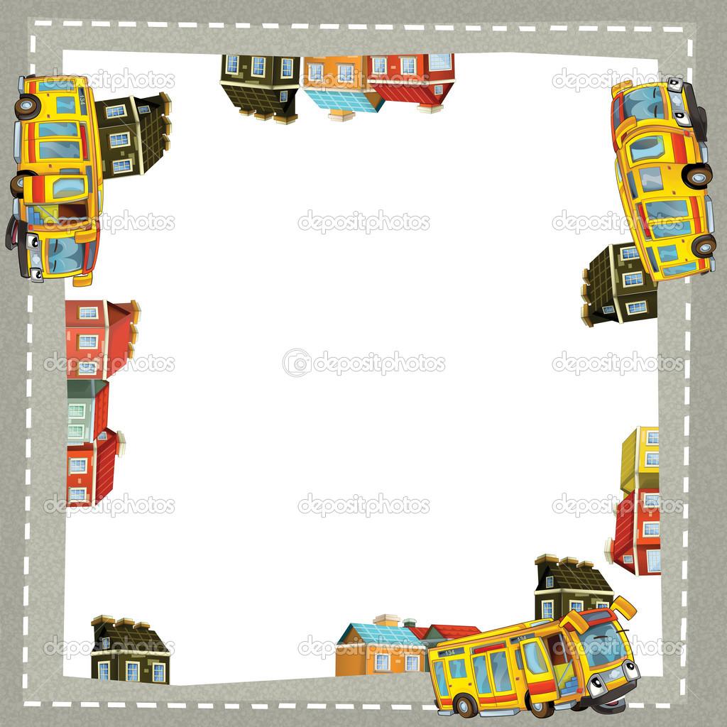 künstlerische Cartoon-Rahmen mit happy bus — Stockfoto ...