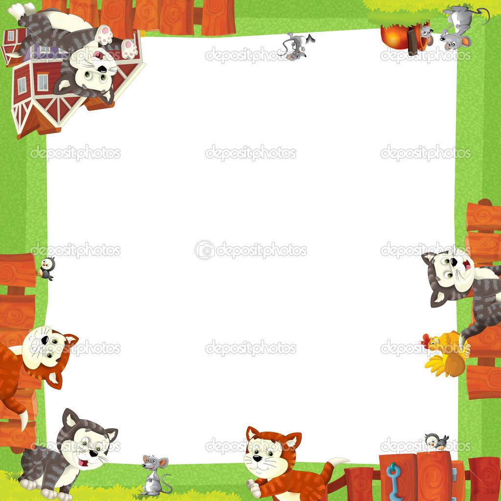 marco artístico de dibujos animados con los gatos felices — Foto de ...