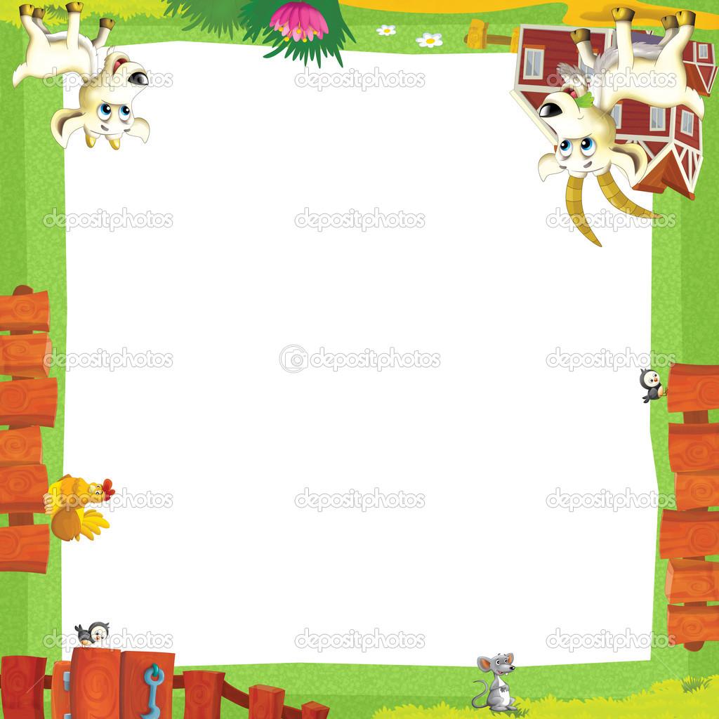 künstlerische Cartoon-Rahmen mit Bauernhof — Stockfoto ...