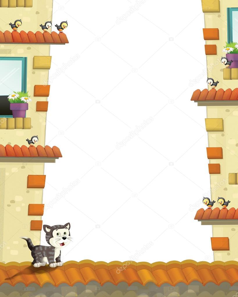 künstlerische Cartoon-Rahmen mit Katze auf einem Dach — Stockfoto ...