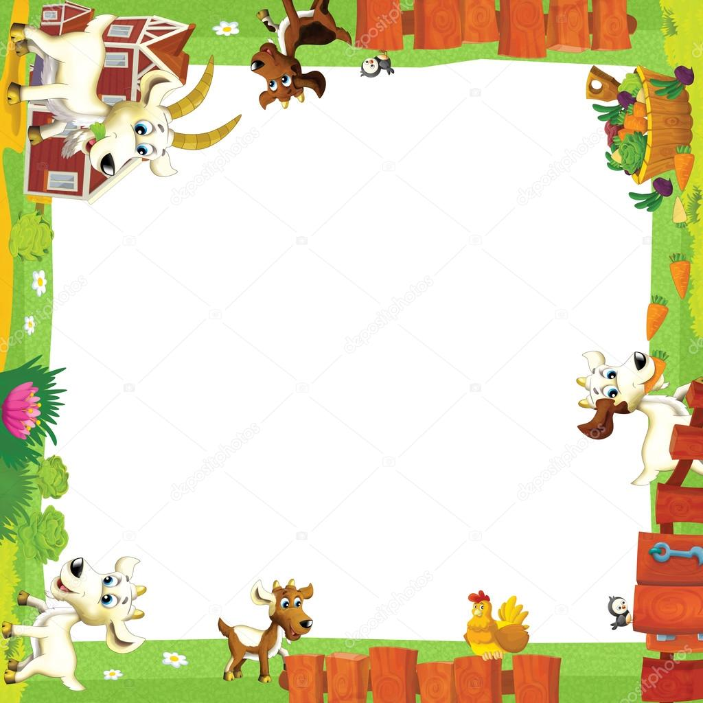 Cornice artistica dei cartoni animati con gli animali in