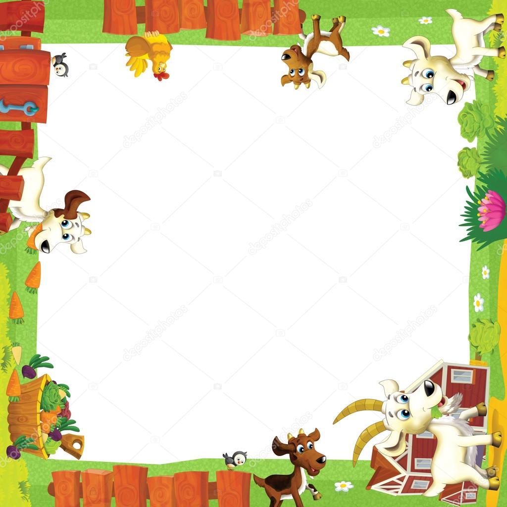 Artistic cartoon frame with animals on a farm — Stock Photo ...
