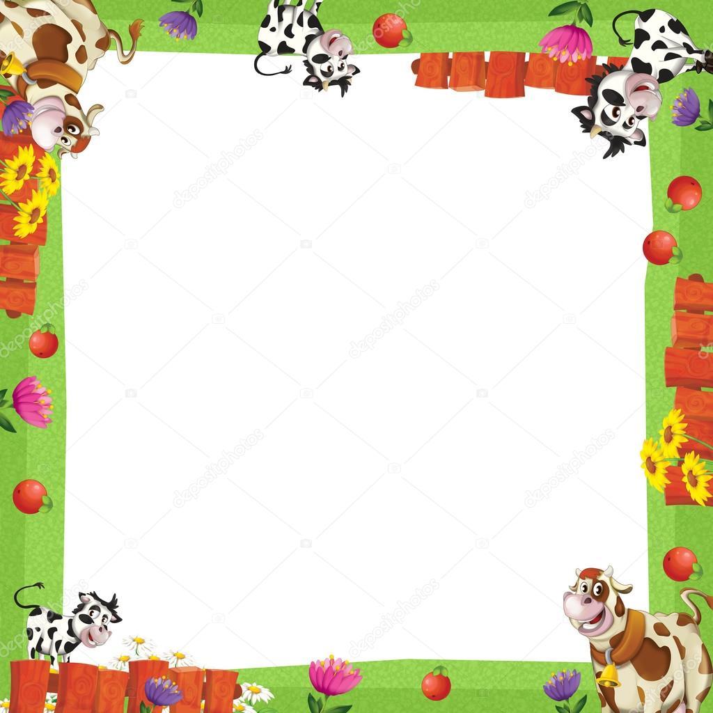Marco art stico de dibujos animados con animales en una - Parador de la granja fotos ...