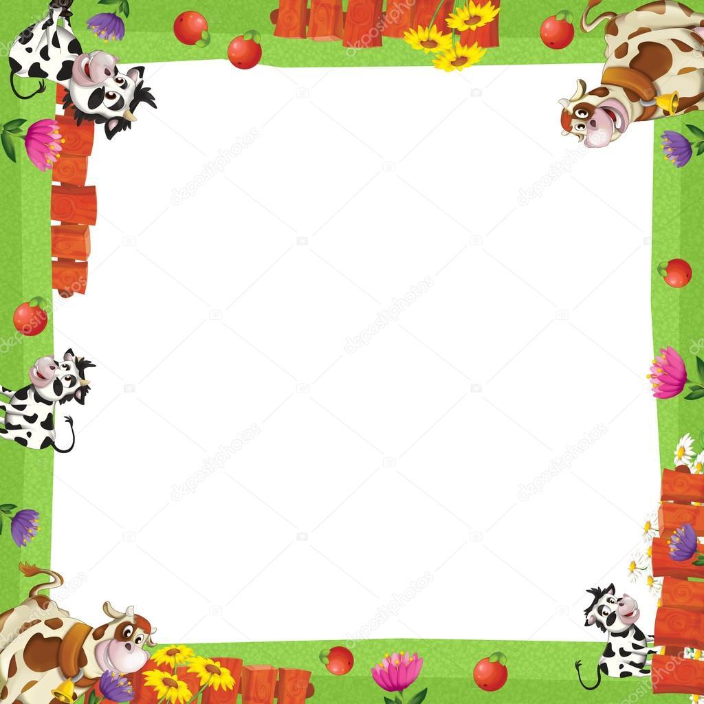 marco artístico de dibujos animados con animales en una granja ...