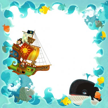 Artistic cartoon frame waves with pirate ship
