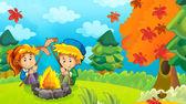 cesta do dřeva - houbaření - okružní - táborák - ilustrace pro děti