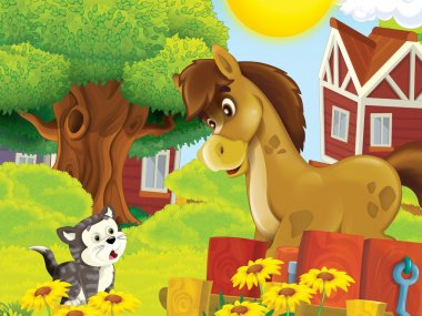 The farm illustration for kids - many different elements - meeting of two friends - horse and cat chatting