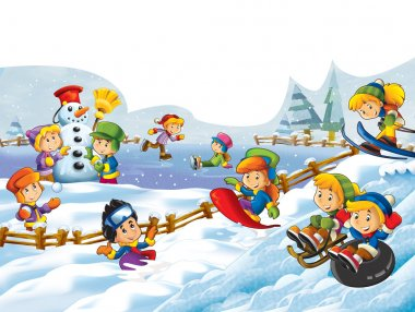 The cartoon snow fight - making a snowman - illustration for the children
