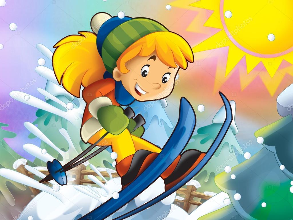 Il cartone animato bambino salto in discesa con personaggi
