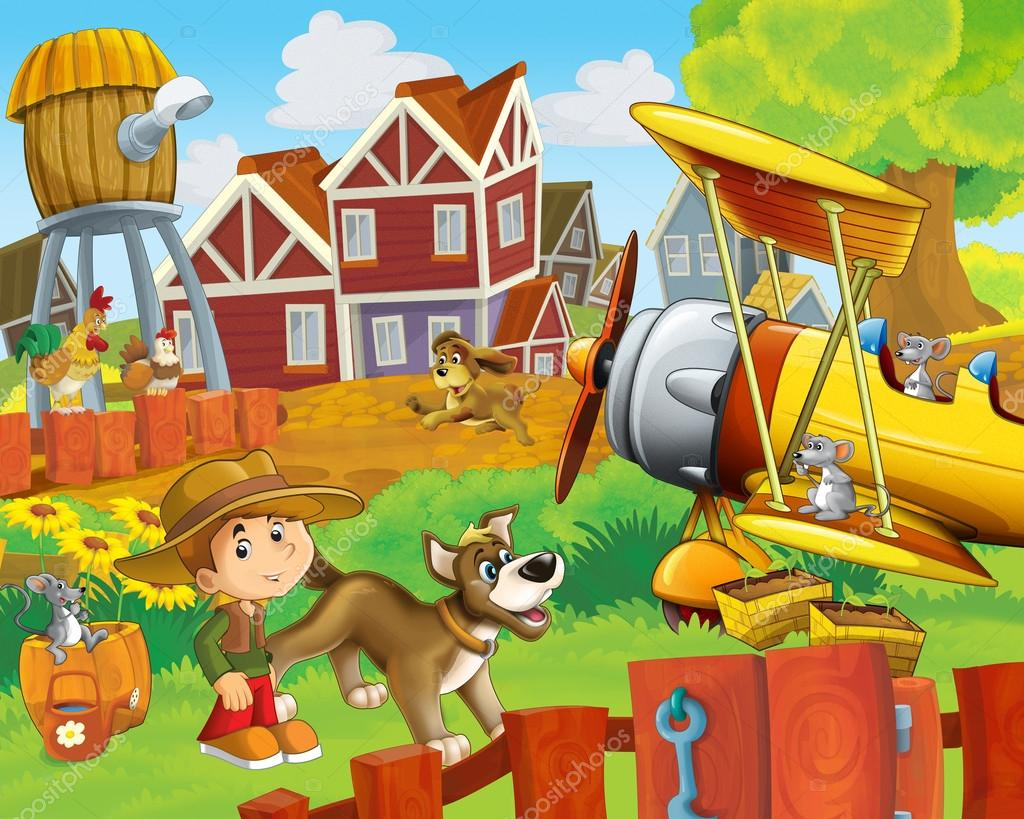 The happy farm illustration for kids - many different elements - an old plane