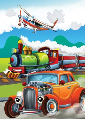 The locomotive, car and the flying machine - illustration for the children