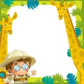 Fotografia lillustrazione di cartone animato divertente cornice - con gli animali selvaggi - per i bambini
