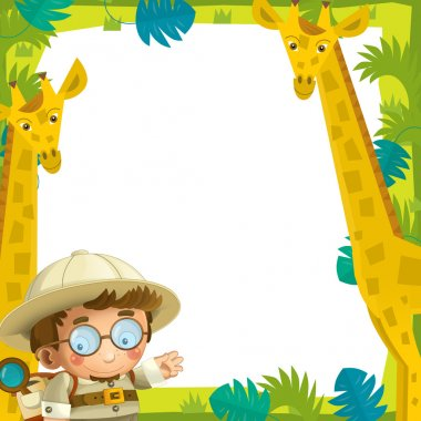 The cartoon funny frame - with wild animals - illustration for the children