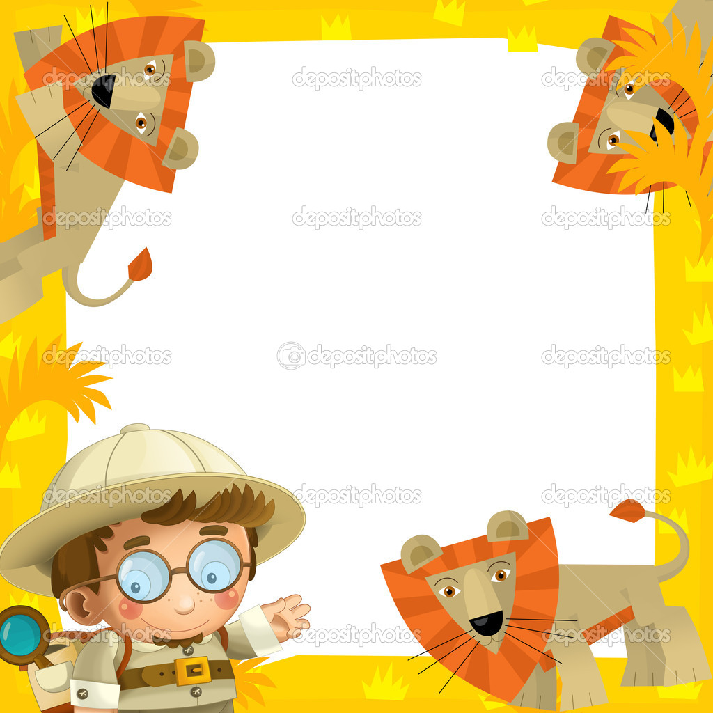 The safari frame - with animals - illustration for the children ...