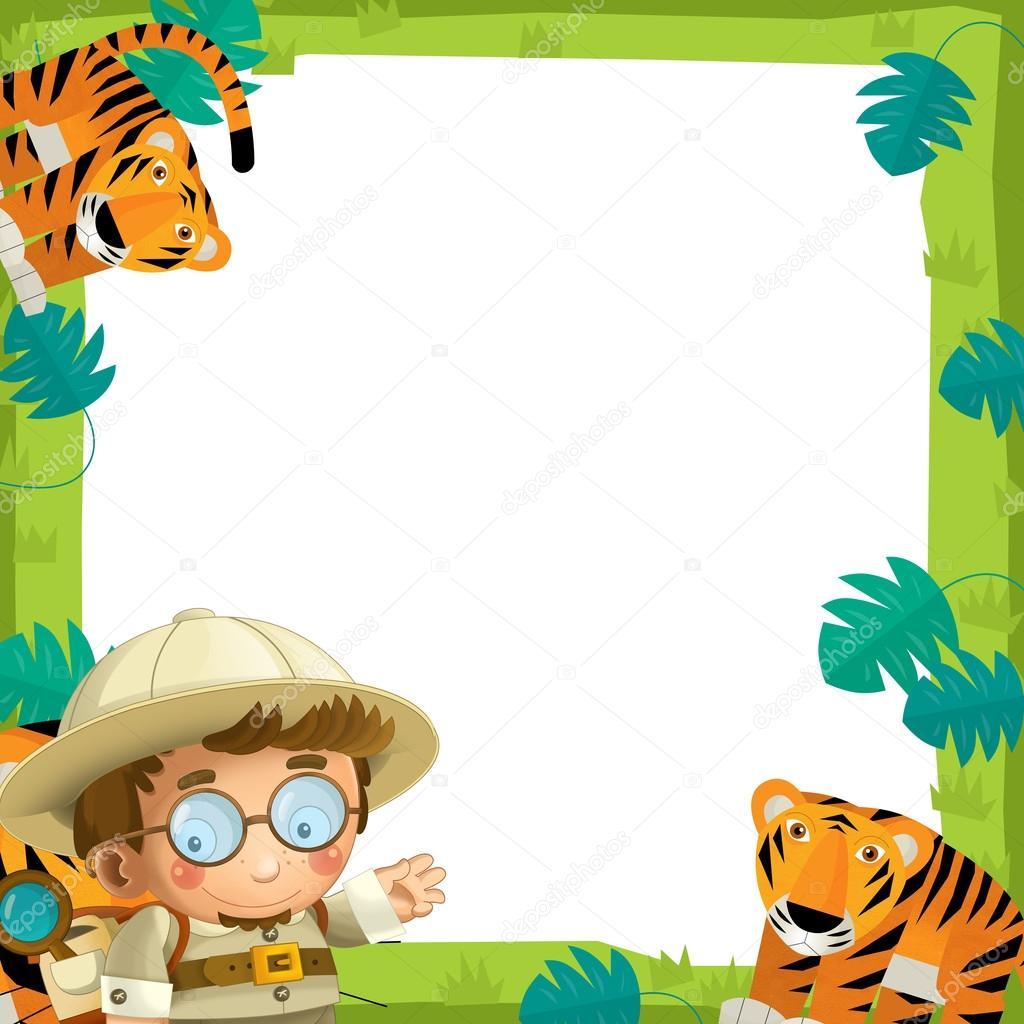 la ilustración de marco - con animales - safari para los niños ...