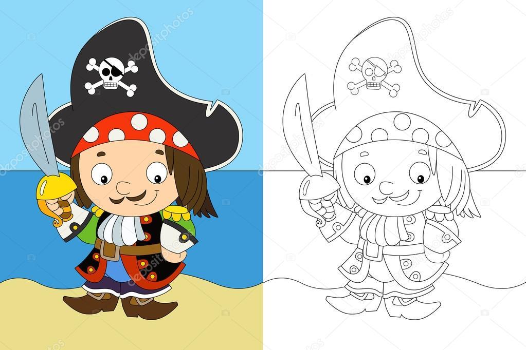 el colorante pagina - capitán pirata - ilustración para los niños ...