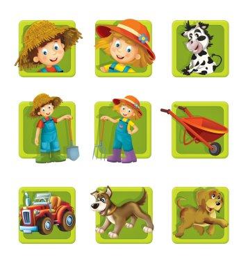 Farm. Set of 9 glossy square web icons.