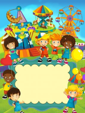 The cartoon labels -smiling faces banners - illustration for the children
