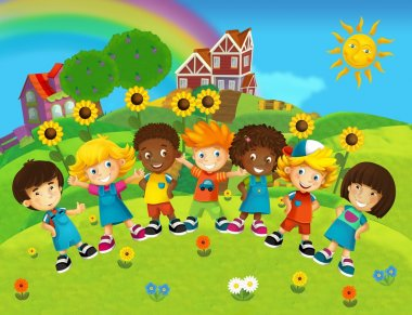 The cartoon - smiling faces banners - illustration for the children
