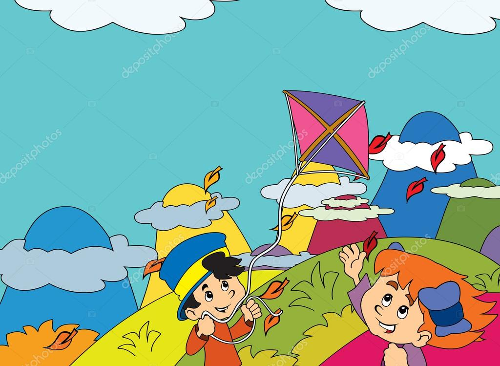 Cartoon kids playing autumn with kite