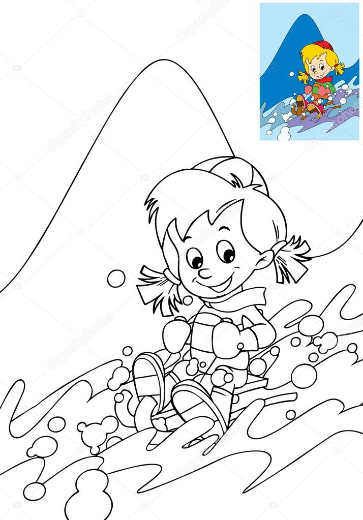 çocuk Boyama Sayfası Dağlar Eğlence Boş Zamanlarında Eğleniyor