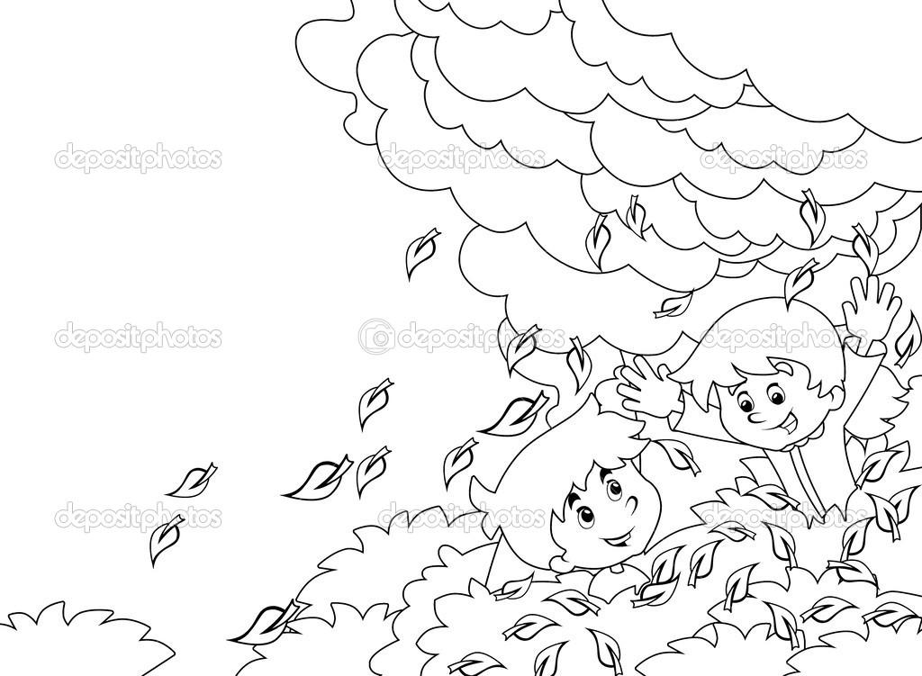 dibujos animados para niños jugando Página para colorear otoño ...