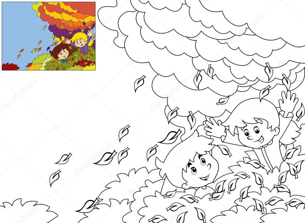 Cartoon Kinderen Spelen Herfst Kleurplaat Stockfoto